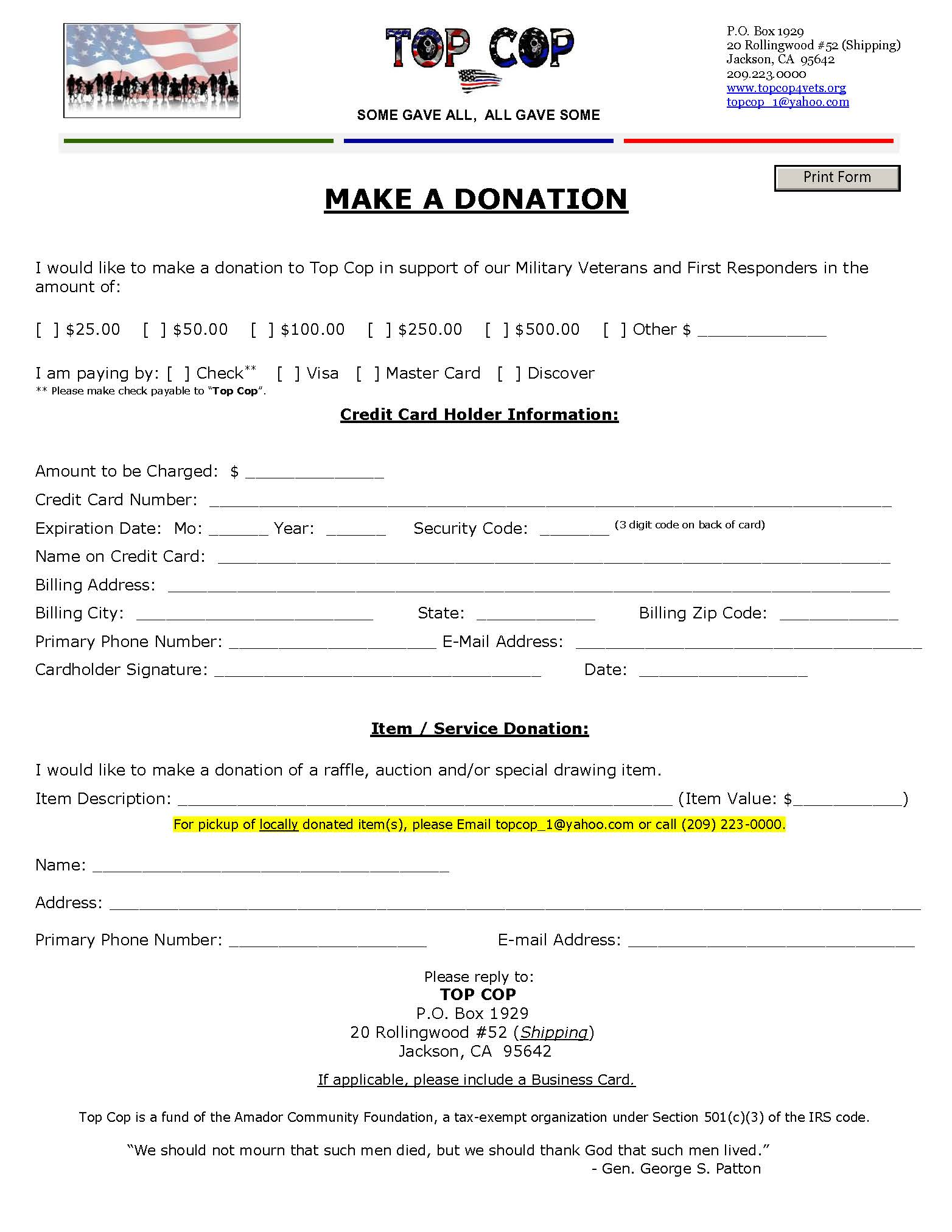 2019 DONATION FORM